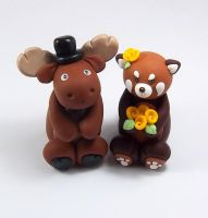 Moose and Red Panda Wedding Cake Topper by HeartshapedCreations