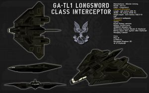 GA-TL1 Longsword class interceptor ortho by unusualsuspex