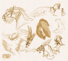 Horse Dragon design sketch dump by Plaguedog