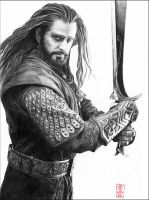 Thorin Oakenshield with Orcrist (Richard Armitage) by ElliCrown