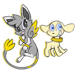ART TRADE - Raionmon and Salamon by Scarfity