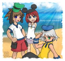 Sora, Kairi, Riku--Mousketeers by MichaelMayne