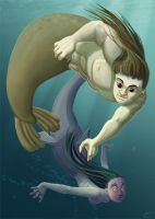 Selkie VS Sharkmaid by kineko