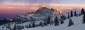 A winter wonderland - evening light on Civetta by JamesRushforth