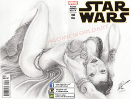 StarWars Leia (on Blank Sketch Cover) by acomicworld