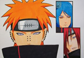 Team Jiraiya - Pain/Yahiko, Konan and Nagato by SakakiTheMastermind