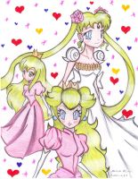 Princess Peach, Serena and DMG by Kimeria87