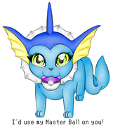 Vaporeon - I'd use my Master Ball on you! by heatbish