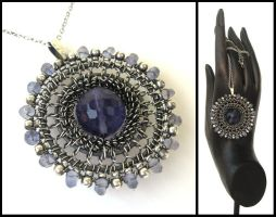 iolite and fluorite necklace by annie-jewelry