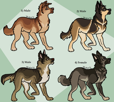 Adoptable GSDs: DONE by Skitzifrania