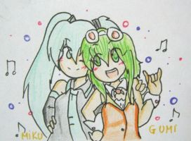 Gumi and Miku by quynhanhnguyendac
