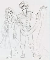 Rapunzel and Flynn by PigletPrincess