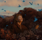 Bilbo in the Butterflies by TamHorse