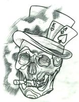 Skull with tophat tattoo design by thirteen7s