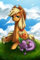Applejack and Spike by KatiraMoon