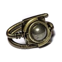 Steampunk Ring with Pyrite by CatherinetteRings