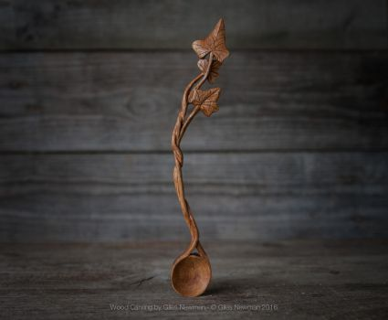 Hand Carved Ivy Spoon by Giles-Newman-Carving