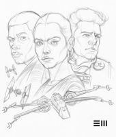 Preparatory sketch for SHATTERED EMPIRE Variant by Erik-Maell