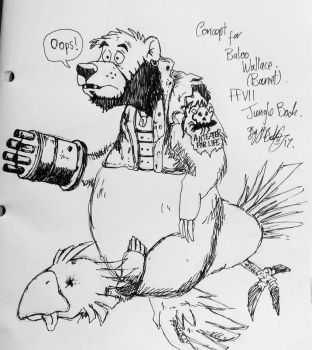 Baloo/Barret concept ffvii/jungle book by LeeBothamart