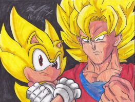 Super Sonic and SSJ Son Goku by 1BetaOne