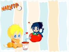 Chibi SasuNaru Wallpaper by kayvy