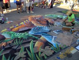 Endangered Iguanas Chalk Art 1 by charfade