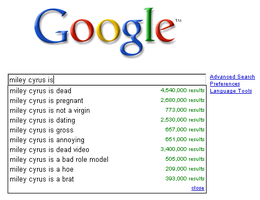 Google hates Miley Cyrus by wintercool612
