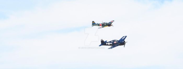 F6F Hellcat and A6M Zero by Leogp