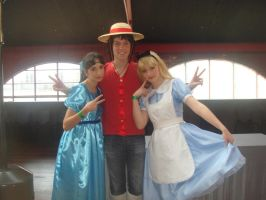 Wendy and Alice with Luffy by xMysticDreamer
