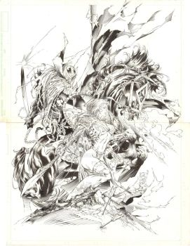 Medieval Spawn Witchblade Pin up raw scan by JoeWeems5