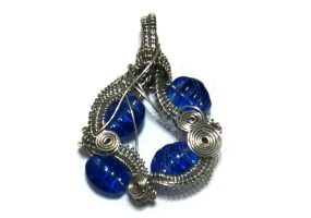 Silver Wire Wrapped Pendant with Blue Beads by cakhost