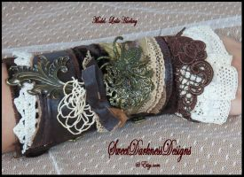 Victorian Wrist Corset Brown Leather Ivory Lace by SweetDarknessDesigns