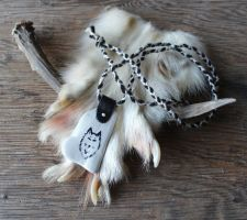 Wolf Painted Petrified Wood Necklace by lupagreenwolf