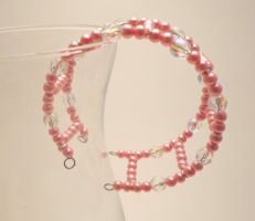 Pink Pearl and Crystal Cuff by TheSortedBead