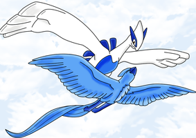 Lugia and Articuno by RubyLugia