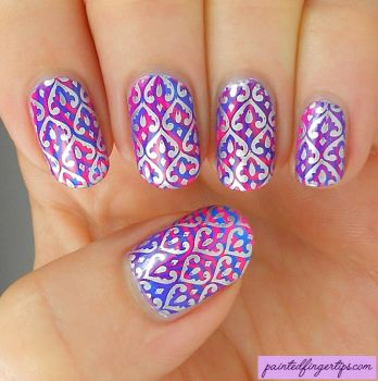 Silver-stamping-over-pink-and-blue by Painted-Fingertips