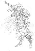 RPG Elf Musketeer commission - A3 pencil by IgorChakal