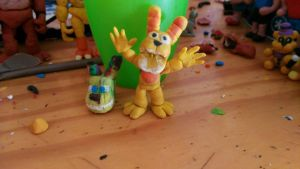Plushtrap and springtrap minecraft mask clay by MrPacManh