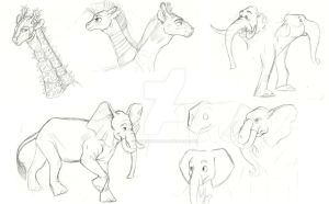 MLP Test sketches: Elephants and Giraffes by Earthsong9405