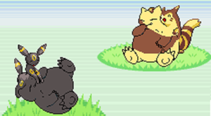 Snorlax Snacks for a Furret and Umbreon by UmbreonVoreLover