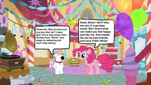 Brian Griffin meets Pinkie Pie by darthraner83