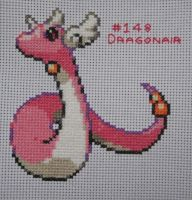 Pokemon Cross Stitch Dragonair Shiny by Quina-chan