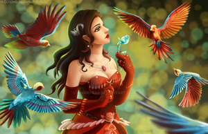 Lady and her birds by H-D200HB