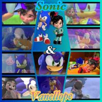Sonic and Vanellope: A Blue Sugar collage by GregoryFields