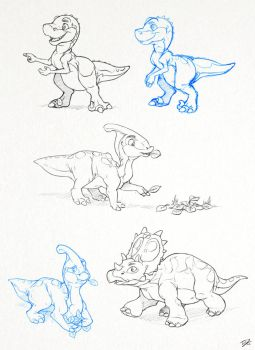 More Dinosaur Sketches by thazumi