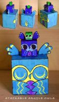 Stackable Wooden Argyle Owls by fuish