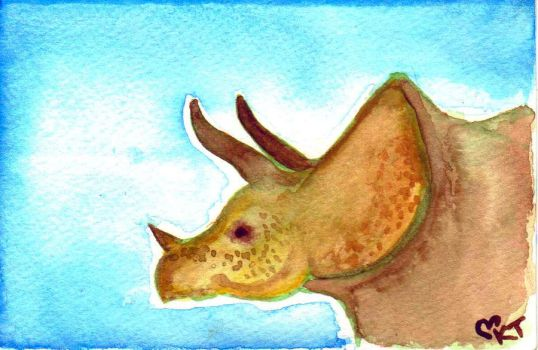 Triceratops in Watercolor by Drazuki