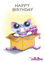 Funny cat Birthday card by KingZoidLord