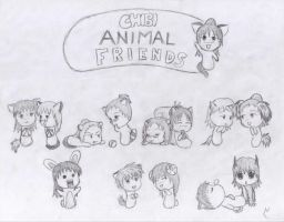 Chibi Animal Friends by Chick-with-a-pencil
