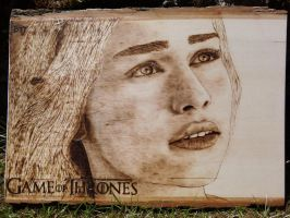 Daenerys Targaryen (Game of Thrones) -Wood burning by brandojones